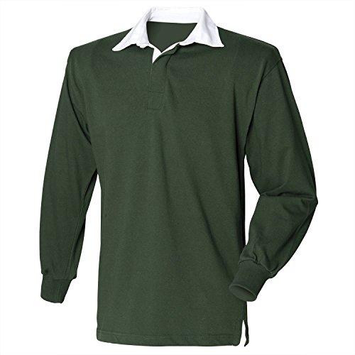 Row maniche lunghe–maglietta da Rugby anteriore Verde bottiglia