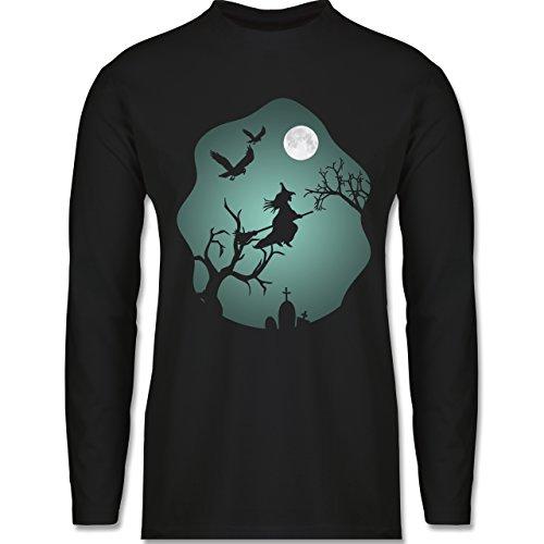Halloween - Hexe Mond Grusel Grün - Longsleeve / langärmeliges T-Shirt für Herren Schwarz