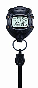 Casio Unisex Quartz Handheld Stopwatch with LCD Digital Display and Black Resin Strap