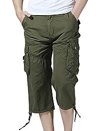 QitunC Pantalones Cortos Deportivo Cargo Shorts Hombres Bermudas Sport Casual jUdl2