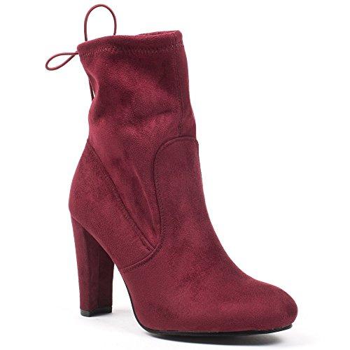 Ideal Shoes–Scarponcini alla caviglia effetto scamosciato, Pamella Rosso