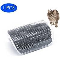 Cat Self Groomer Bürste mit Katzenminze - Wand Corner Mounted Grooming Comb - Hilft verhindern, Haarballen und Controls Shedding-Safe & Bequeme (grau)