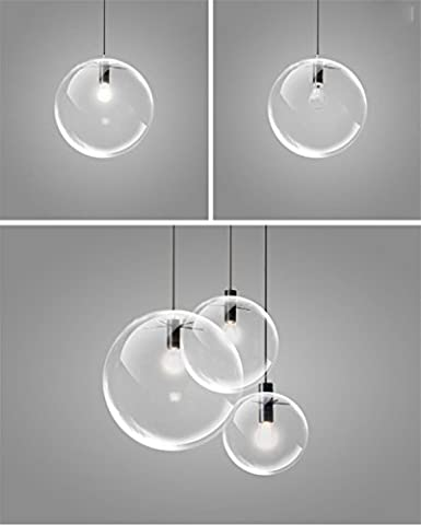 NN Lampe De Lampe De Restaurant Lampe Moderne Lustre En Verre À Tête Unique Brillant Personnalisé Bulle Lustre En Verre Transparent , 30Cm,30cm