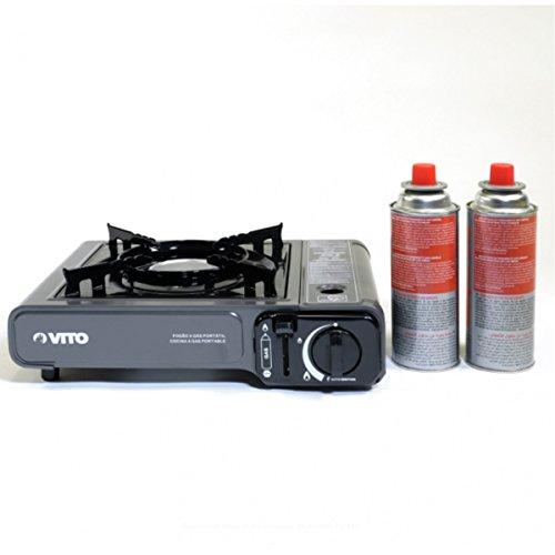Gaskocher ,tragbar, Piezo + 2 Gaskartuschen mit Bajonettverschluss. Propan Butangas Campingkocher (Outdoor Tragbare Propan)