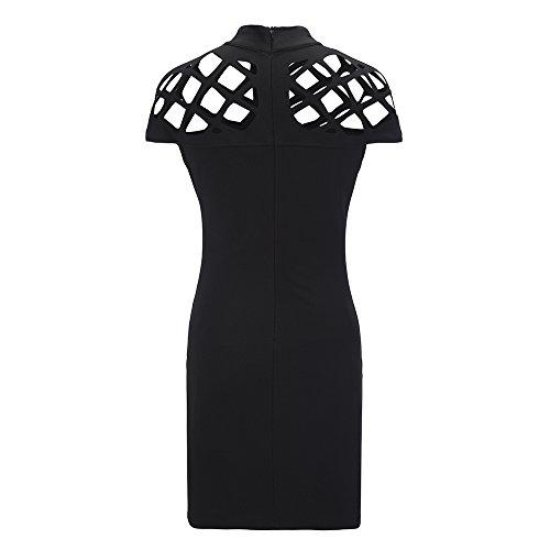 Bella Donna Girocollo Collo Alto Aderente Signore Caged Vestitino Maniche Solido Nero