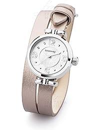 Reloj Brosway Olivia esfera blanco correa doble vuelta cuero beige mujer wol01