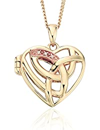 CLEVER SCHMUCK Clever Jewellery Golden Pendant Angel Wings With A White Zirconia and 25mm Shiny 333Gold For Ladies