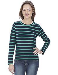SVT ADA COLLECTIONS Cotton Lycra Navy Blue-Green Stripes Ever TIME TOP (021405_Green_Medium)