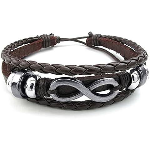 mendino para hombre hecha a mano tejida pulsera de piel pulsera símbolo de infinito ajustable, color marrón