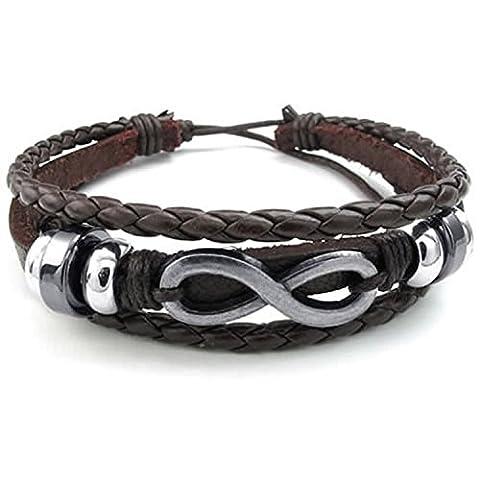 MENDINO Mens Handmade Woven Brown Infinity Symbol Bangle Leather Bracelet Adjustable