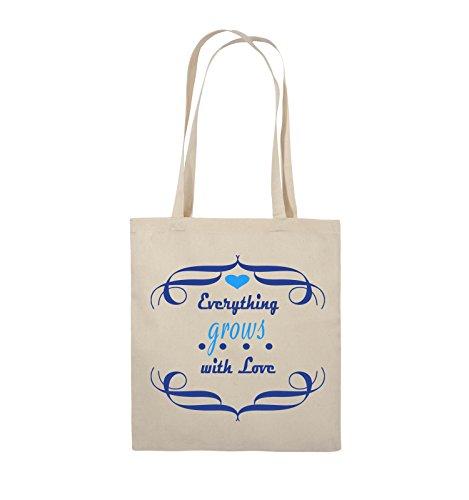 Comedy Bags - Everything grows with Love - Jutebeutel - lange Henkel - 38x42cm - Farbe: Schwarz / Weiss-Neongrün Natural / Royalblau-Hellblau