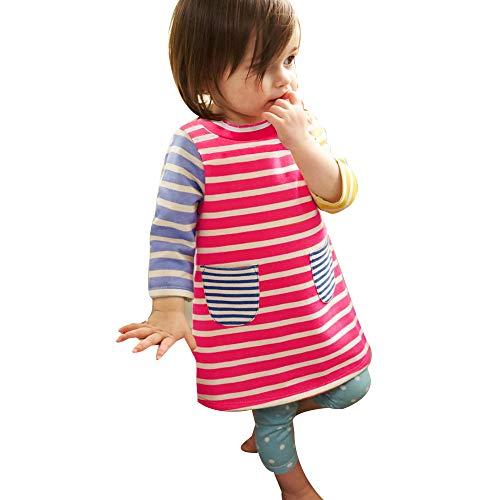 by Mädchen Kleider Langarm Streifen Prinzessin Party Kleider T Shirt Kleider Mit Taschen (Multicolor, 4-5 Jahre/130) ()