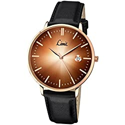 Limit Men's Quartz Watch with Brown Dial Analogue Display and Black Polyurethane Strap 5512.01