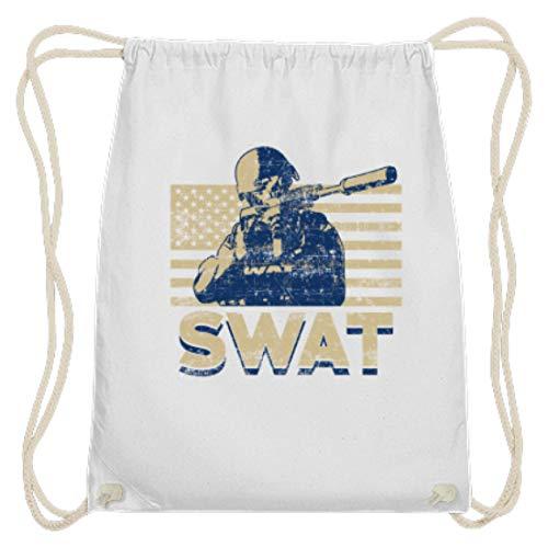 Behörde Weißes T-shirt (SPIRITSHIRTSHOP SWAT - Special Weapons And Tactics - Taktische Spezialeinheiten Der Polizei, Polizisten - Baumwoll Gymsac -37cm-46cm-Weiß)