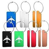 Kofferanhänger 7 Stücke, Watme Gepäckanhänger, Aluminium Kofferanhänger Namensschild zum Koffer, Wasserdicht Sichtbares Fenster Tags zum Reisen