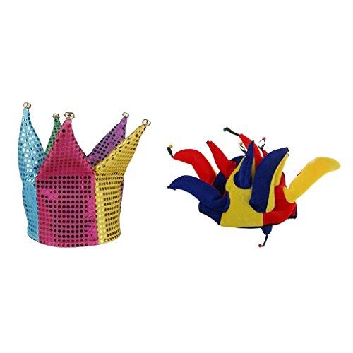 Gazechimp Sombrero de Payaso Traje de Disfraces Multicolored + Gorra Divertida de Joker para Bufón Decoración de Canaval Fiesta de Noche