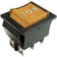 Interruptor basculante con luz amarilla iluminada DPDT de 22 x 30 mm, 6 pines de la leyenda: I-O-II