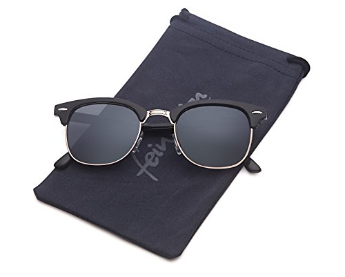 Vintage Sonnenbrille im angesagten 60er Browline-Style mit markantem Halbrahmen unisex (schwarz-Halbrahmen)