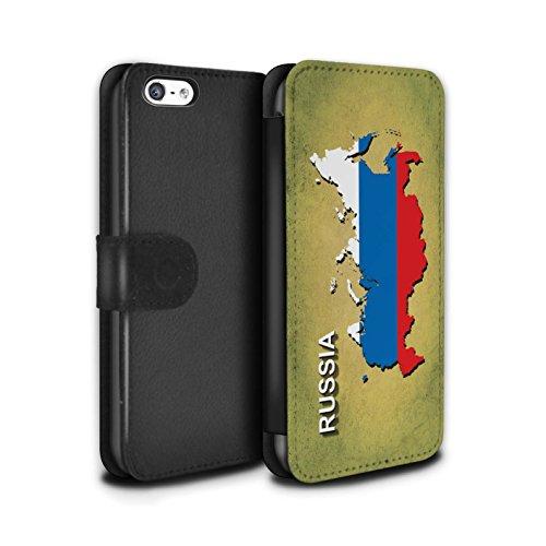 STUFF4 PU-Leder Hülle/Case/Tasche/Cover für Apple iPhone 8 Plus / Italien/Italienisch Muster / Flagge Land Kollektion Russland/Russisch