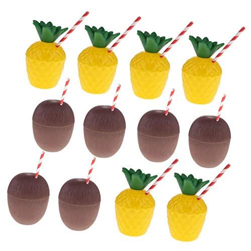Tubayia 12 Stück Plastik Ananas-Cups Kokosnussschalen Trinkbecher für Strand Party Kindergeburtstag
