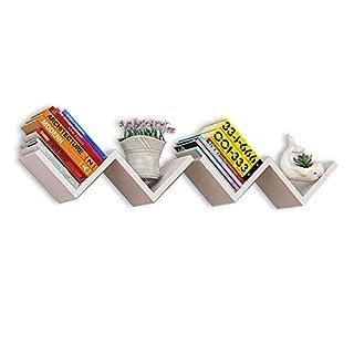 Costway 2er-Set Wandregal Bücherregal Dekoregal Wandboard Wandablage Wandschrank Holzregal Hängeregal W-Form Farbwahl (weiß)