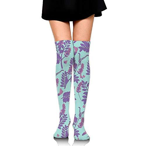 Kailey hello Cute Lavender Flower Womens Socks Long Tube Socks Thigh High Stockings (Open Toe Thigh High Socks)