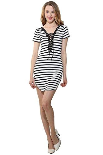 Damen Minikleid Damen Sommer Kurzarm Gestreiften Minikleid Strand Partei Beiläufig Sundress Kurzer Kleider Weiß