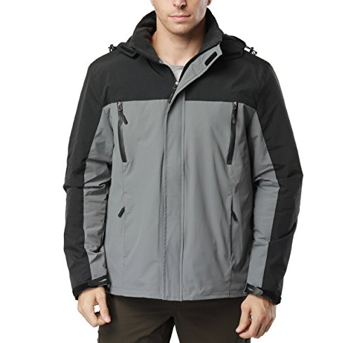 Herren Wasserdicht Outdoor Sport Softshelljacke Funktionsjacke Winddicht Kapuze Warm Fleece gefüttert Mantel (2XL, Grau) (Fleece-gefütterte Nylon-kapuze Jacke)