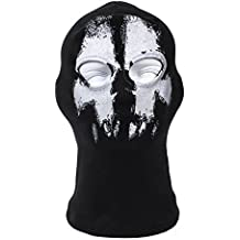 Terror Ghost Fantasma AGUJERO, zorro Ninja, Disfraz 1 talla Senior, Balaclava Fantasma Calavera Máscara Moto Casco de MOTO Capucha Esquí Deporte Cuello Máscara Halloween Terror
