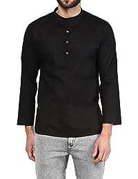 VIVIDS INDIA MEN'S Cotton Short Kurta (Black , G-155 - $P)