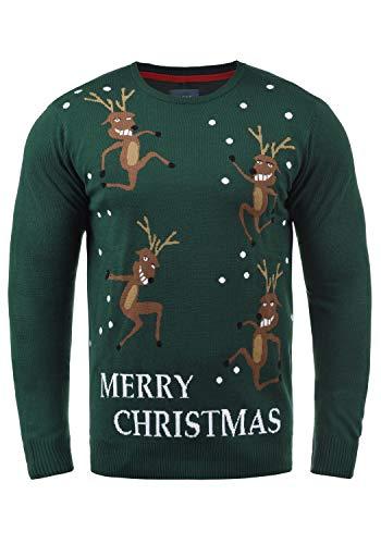 Blend Rudolph Herren Strickpullover Weihnachtspullover Mit Rundhalsausschnitt, Größe:L, Farbe:Pine Green/Christmas (77031) -