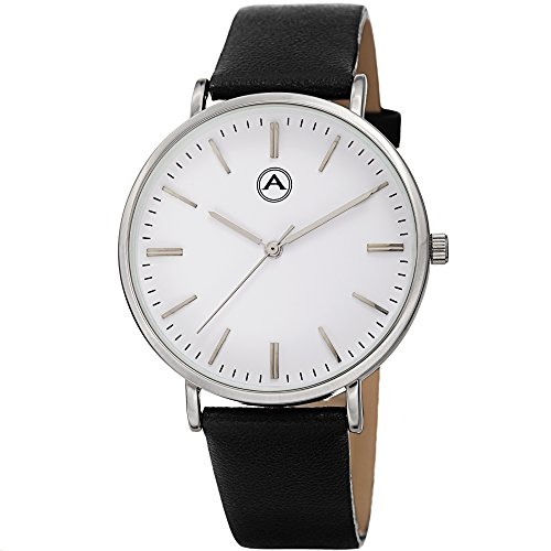Akribos XXIV Unisex AK1033SS Round Silver Tone Case Leather Strap Watch