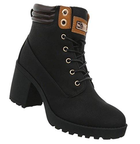 Damen Schuhe Stiefeletten Schnürstiefel Ankle Boots Kurze Stiefel Schwarz 38