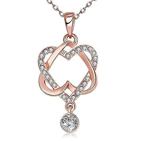 Yeahjoy Charm pour femme double cœur romantique enroulée Colliers AAA Ziron pavés Pendentif Colliers