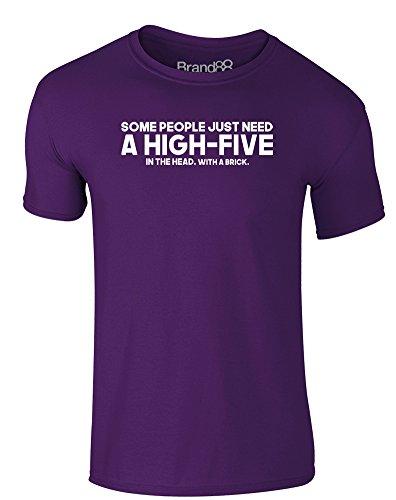 Brand88 - A High-Five, Erwachsene Gedrucktes T-Shirt Lila/Weiß