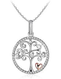 """J.Rosée Collar Mujer Plata de Ley 925 Brillante Circonita """"Árbol de la vida"""" Corazón Rosa Cadena 45cm-50cm con Hermosa Caja de Regalo"""