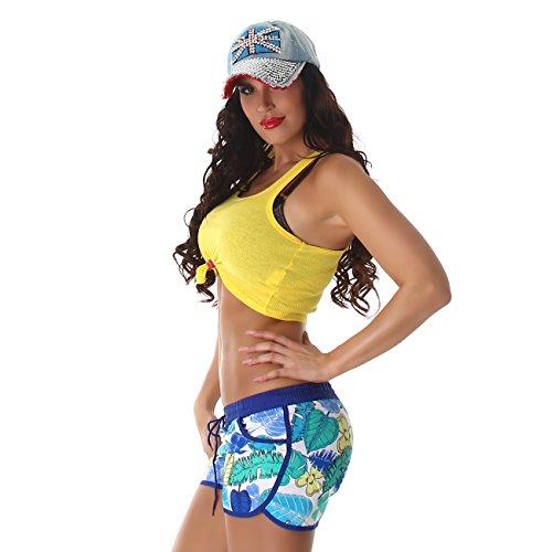 Damen Sporthose, kurze Sport Shorts in vielen eleganten Mustervarianten und Größen erhältlich Model 60405 Blau