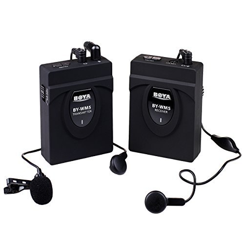 Boya BY-WM5 Wireless Lavalier Microphone for Canon, Nikon, Sony DSLR Camera Camcorder Audio Recorder Black  available at amazon for Rs.11000