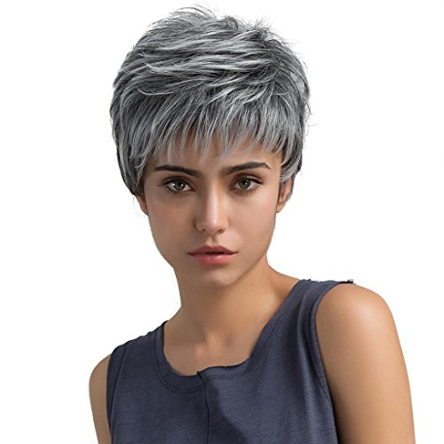HARRRYSTORE Kurze Perücke, Frauen Mode Natürliche Hellgraue Farbe Gerade Kurze Haar (Kostüme Perücke Indische)