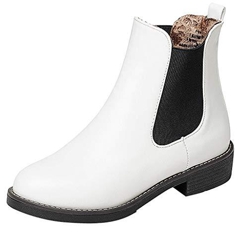 NINGSANJIN Unisex-Erwachsene Chelsea Boots Damen Stiefel Derby Wasserdicht Kurz Stiefeletten Schuhe Herren Worker Boots (Weiß,38)