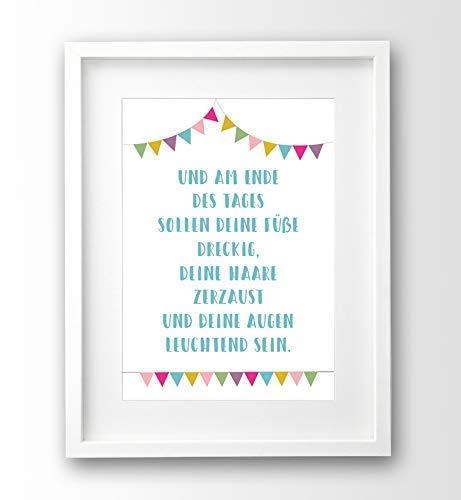 Kinderbild mit Spruch, Geschenk zu Geburt, Taufe, Babyzimmer Deko türkis pink, A4 ohne Rahmen, Wimpel mit Taufspruch