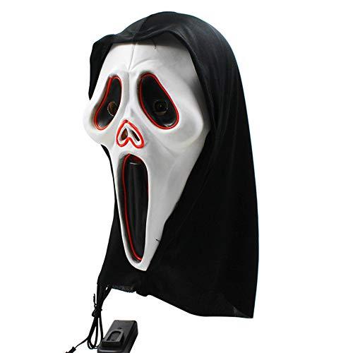 Halloween Skelett Maske, Cosplay LED Glow Scary EL Draht Leuchten Grinsen Masken für Festival Parties Kostüm, Bar Dance, Einheitsgrösse