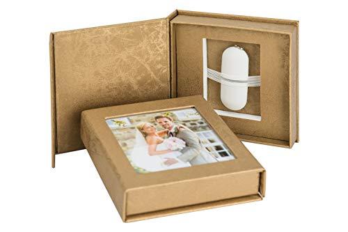 Elegantdisk Hochzeit USB-Box mit Bildfenster. Gold