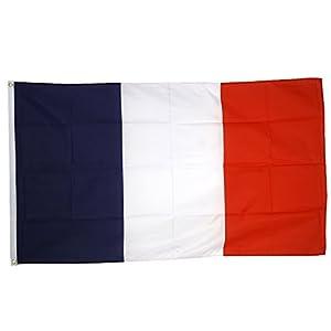 Supportershop France Drapeau de nation avec 2 œillets métalliques Bleu/Blanc/Rouge 1,50 x 0,90 m