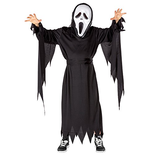 Ghost Kostüm Einfach - TecTake dressforfun Schauriges Kinder Screaming Ghost Kostüm Ganzkörperkostüm inkl. Maske und Bindegürtel (8-10 Jahre | Nr. 300109)