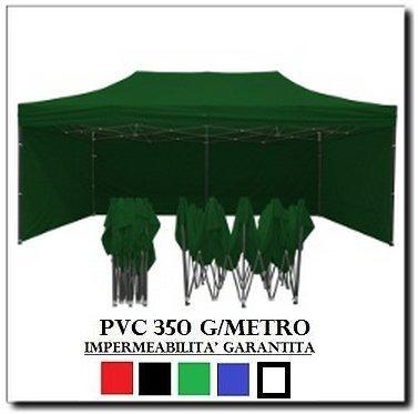 Gazebo pieghevole 3x6 verde acciaio + 4 teli laterali pvc 350 g metro