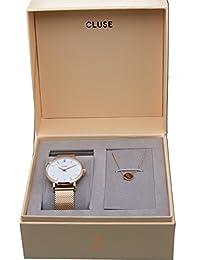 Reloj Cluse CLG013 de malla de acero rosado con pulsera