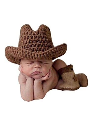 Jastore® Infant baby Cowboy Kostüm Fotografie Hut Set Handarbeit Häkelarbeit