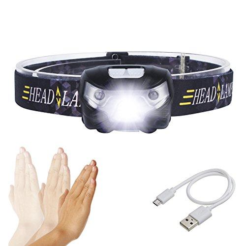 LED Stirnlampe,SUNINESS Super Bright 8000 Lumen Rechargable Wasserdichte Stirnlampe Taschenlampe mit verstellbarem Strap 5 Cree LEDs und 4 Modi für Outdoor-Wandern Camping Jagd Angeln Radfahren Laufen