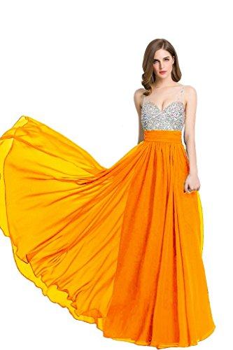 Beauty-Emily Frauen V-Ausschnitt, Strass Chiffon Lange Abendkleider Abendkleider formelle Kleidung Orange